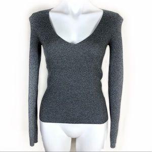 Express gray V neck long sleeve sweater